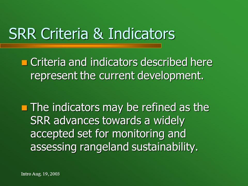 Intro Aug. 19, 2003 SRR Criteria & Indicators Criteria and indicators described here represent the current development. Criteria and indicators descri
