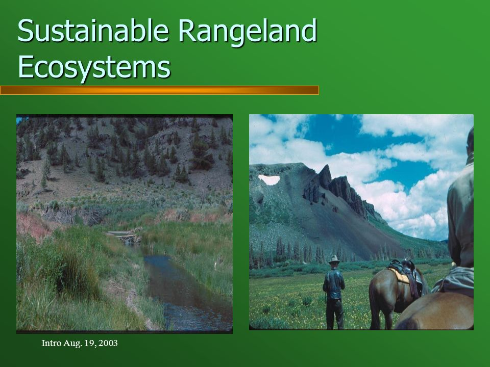 Intro Aug. 19, 2003 Sustainable Rangeland Ecosystems