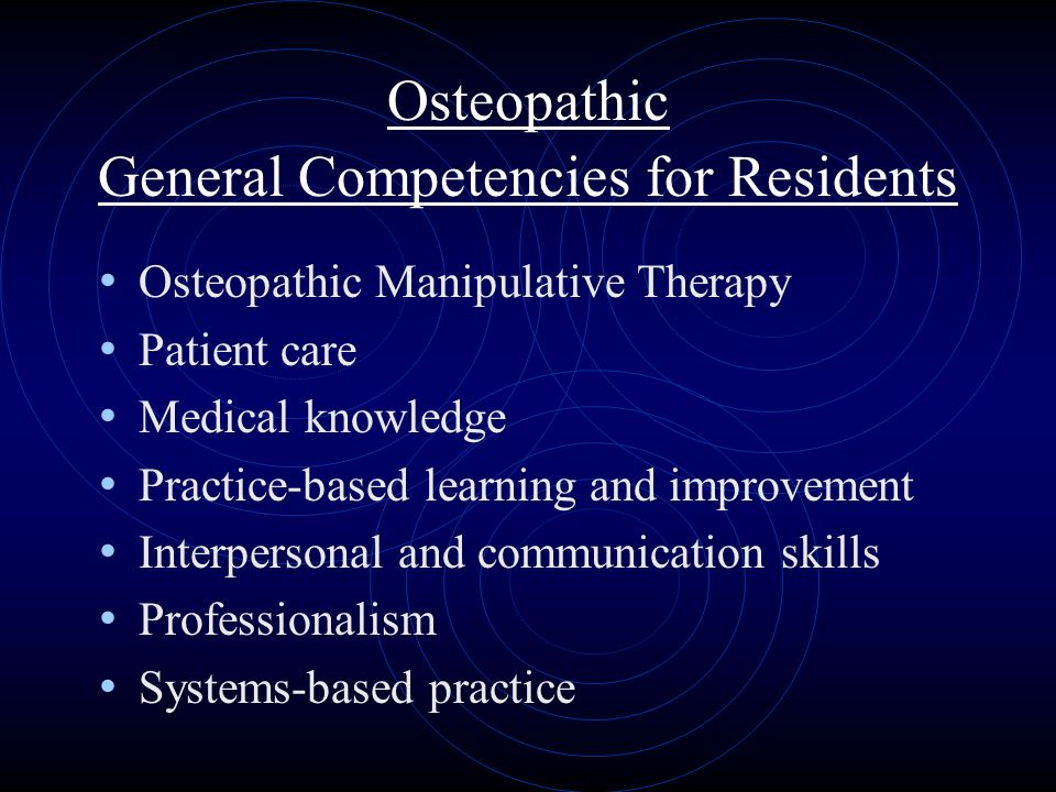 Osteopathic General Competencies for Residents Osteopathic Manipulative Therapy Patient care Medical knowledge Practice-based learning and improvement Interpersonal and communication skills Professionalism Systems-based practice