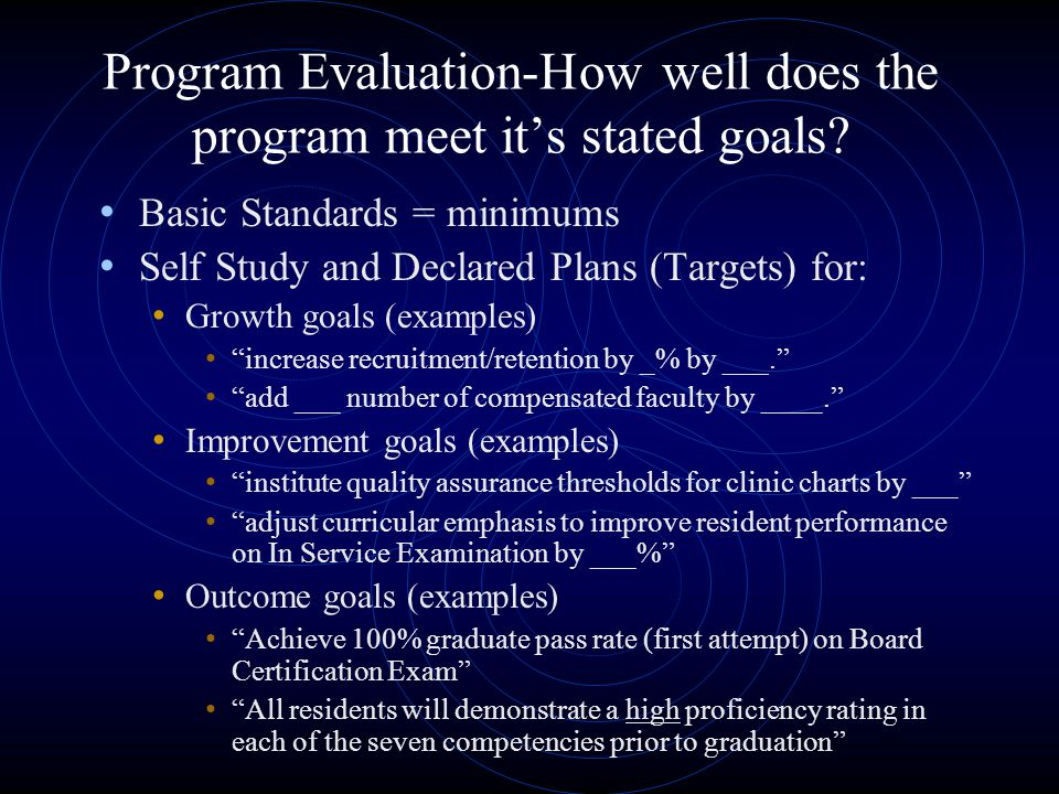 Program Evaluation-How well does the program meet its stated goals.