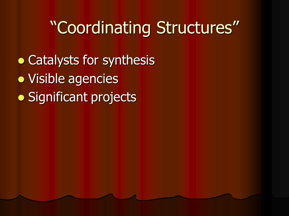 Coordinating Structures Catalysts for synthesis Catalysts for synthesis Visible agencies Visible agencies Significant projects Significant projects