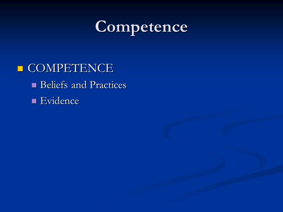 Competence COMPETENCE COMPETENCE Beliefs and Practices Beliefs and Practices Evidence Evidence
