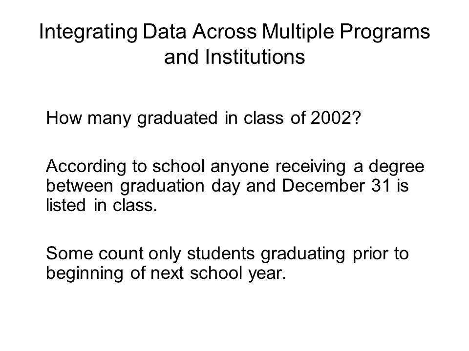 Integrating Data Across Multiple Programs and Institutions How many graduated in class of 2002.
