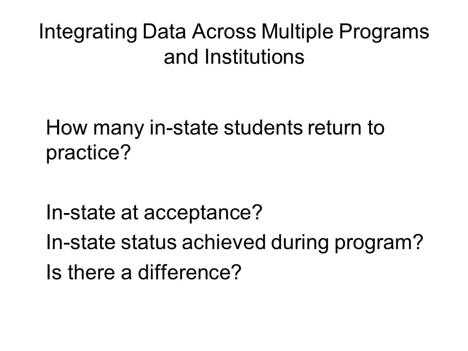Integrating Data Across Multiple Programs and Institutions How many in-state students return to practice.
