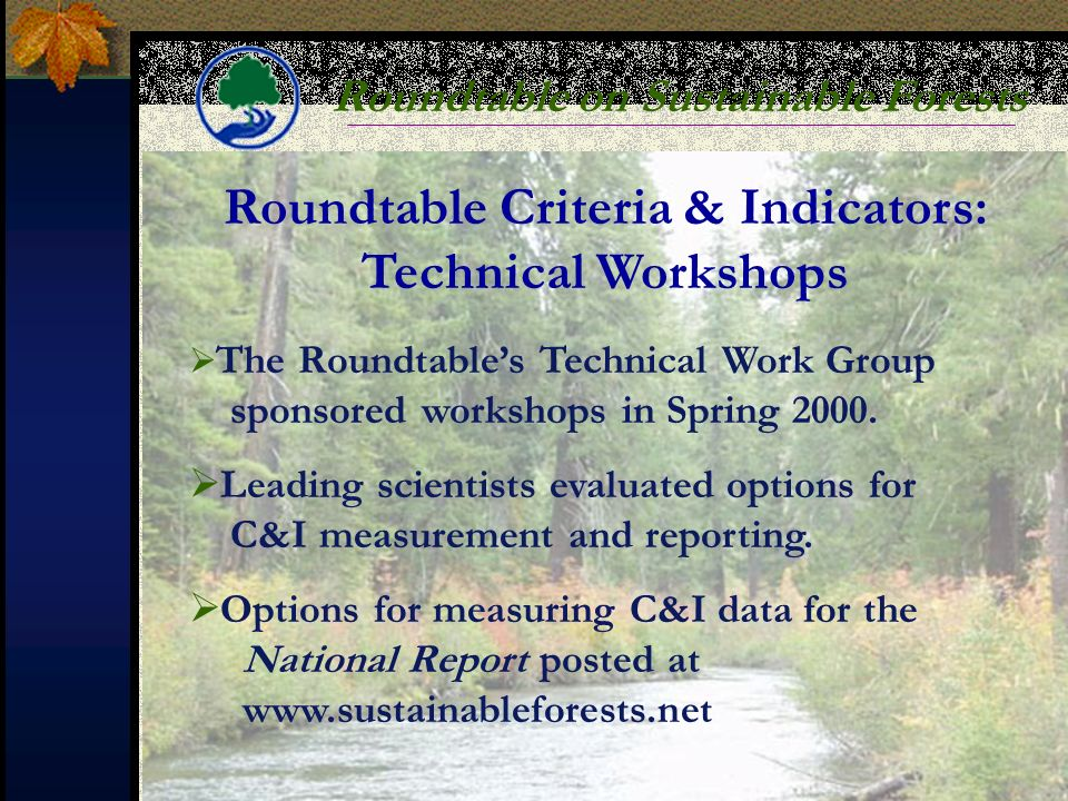 Roundtable on Sustainable Forests Roundtable Criteria & Indicators: Technical Workshops The Roundtables Technical Work Group sponsored workshops in Spring 2000.