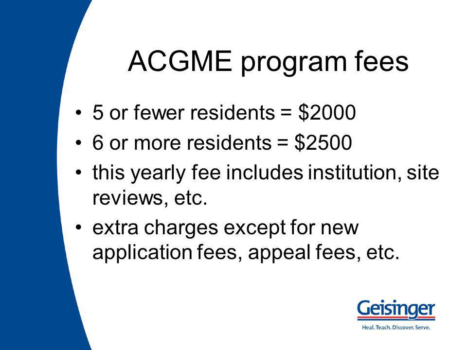 ACGME program fees 5 or fewer residents = $ or more residents = $2500 this yearly fee includes institution, site reviews, etc.