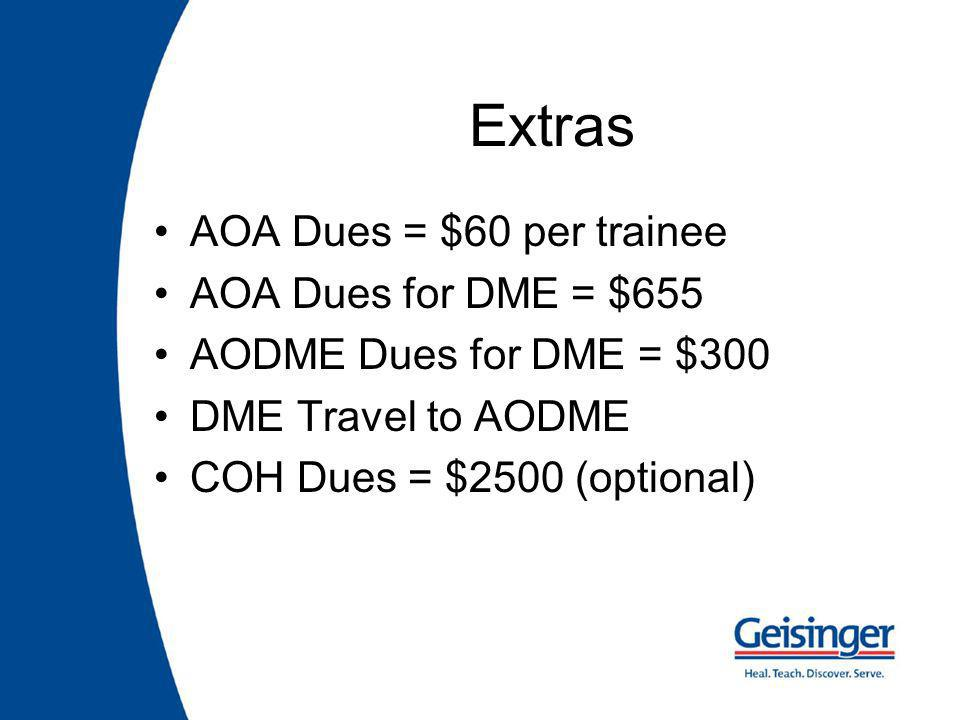 Extras AOA Dues = $60 per trainee AOA Dues for DME = $655 AODME Dues for DME = $300 DME Travel to AODME COH Dues = $2500 (optional)