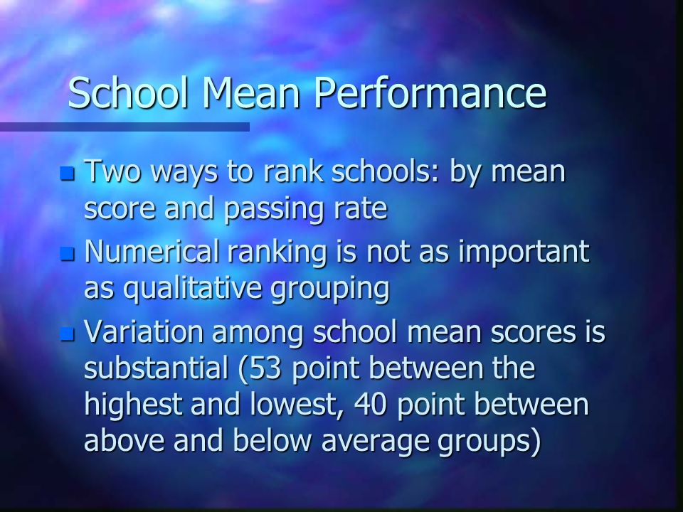 School Mean Performance n Two ways to rank schools: by mean score and passing rate n Numerical ranking is not as important as qualitative grouping n Variation among school mean scores is substantial (53 point between the highest and lowest, 40 point between above and below average groups)