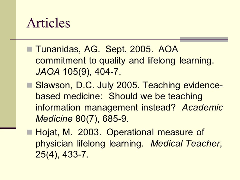Articles Tunanidas, AG. Sept. 2005. AOA commitment to quality and lifelong learning.