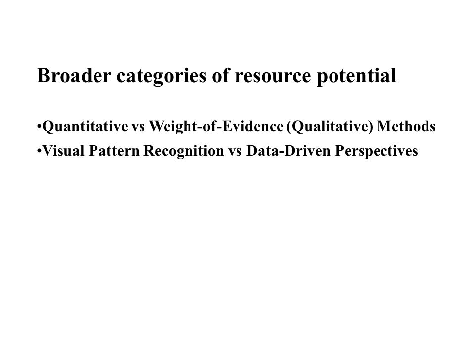Broader categories of resource potential Quantitative vs Weight-of-Evidence (Qualitative) Methods Visual Pattern Recognition vs Data-Driven Perspectives
