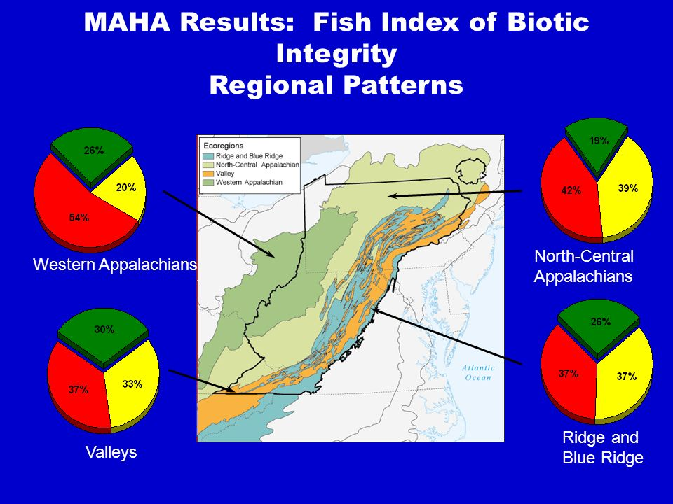 MAHA Results: Fish Index of Biotic Integrity Regional Patterns Western Appalachians Valleys North-Central Appalachians Ridge and Blue Ridge