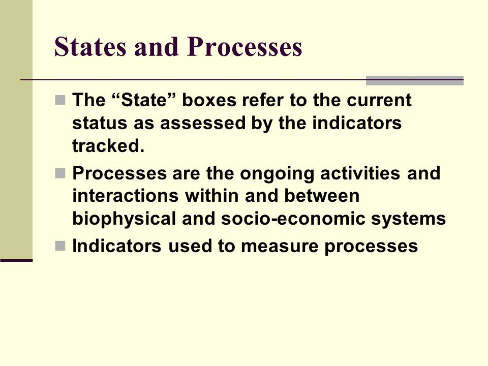 States and Processes The State boxes refer to the current status as assessed by the indicators tracked. Processes are the ongoing activities and inter