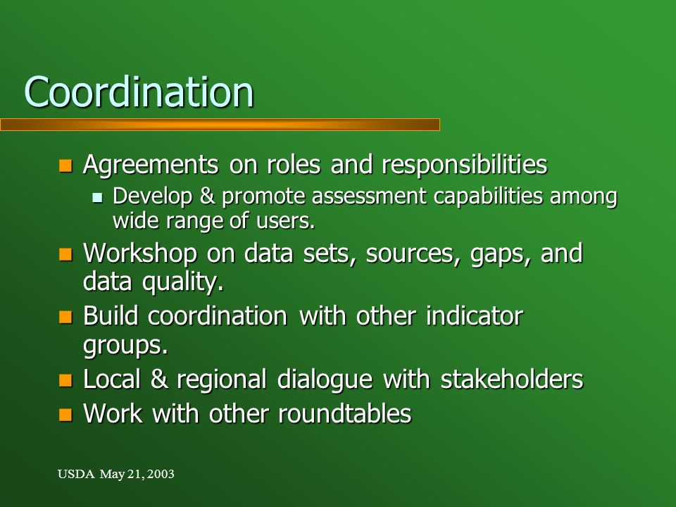 USDA May 21, 2003 Coordination Agreements on roles and responsibilities Agreements on roles and responsibilities Develop & promote assessment capabilities among wide range of users.