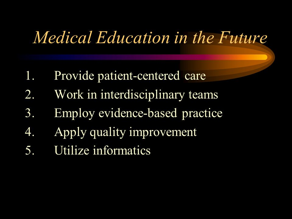 Medical Education in the Future 5.Changes in evaluation methods 6.Texts updated 7.Information management skills 8.Interactive laboratories and clinical simulations