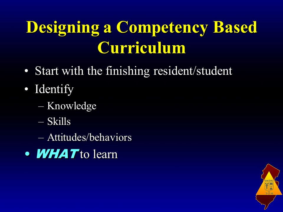 Designing a Competency Based Curriculum Start with the finishing resident/student Identify –Knowledge –Skills –Attitudes/behaviors WHAT to learn Start