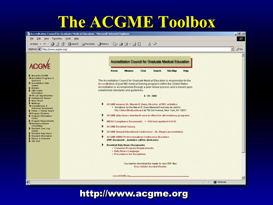 The ACGME Toolbox http://www.acgme.org