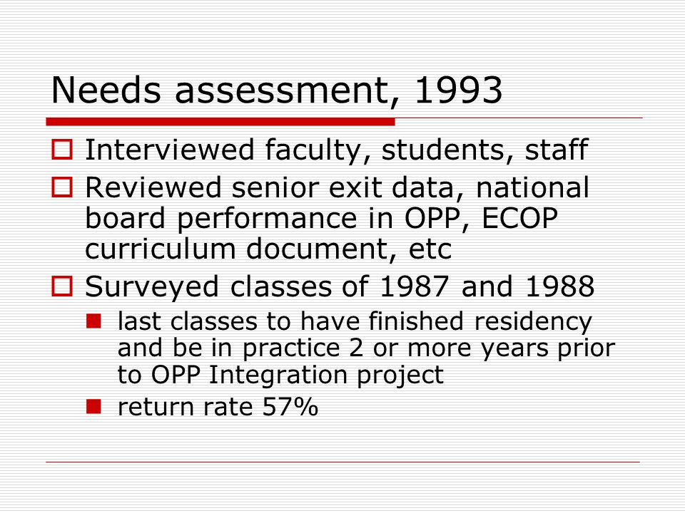 Needs assessment, 1993 Interviewed faculty, students, staff Reviewed senior exit data, national board performance in OPP, ECOP curriculum document, et