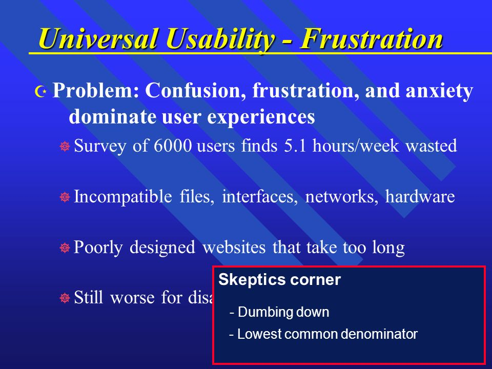 Z Z Problem: Confusion, frustration, and anxiety dominate user experiences ] ] Survey of 6000 users finds 5.1 hours/week wasted ] ] Incompatible files, interfaces, networks, hardware ] ] Poorly designed websites that take too long ] ] Still worse for disabled & foreign users Universal Usability - Frustration