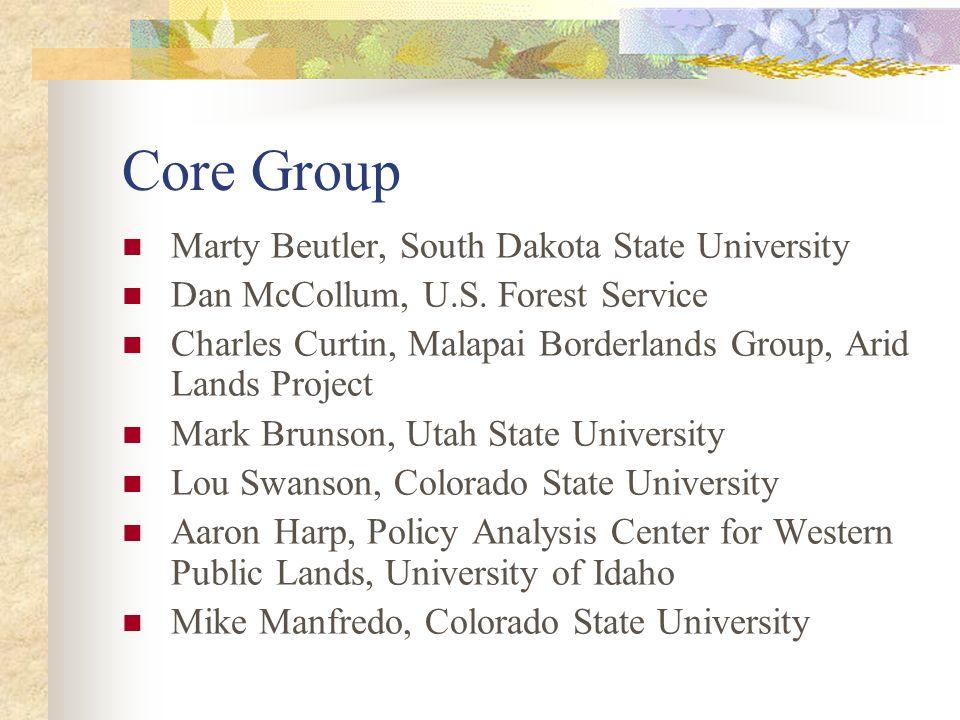 Core Group Marty Beutler, South Dakota State University Dan McCollum, U.S. Forest Service Charles Curtin, Malapai Borderlands Group, Arid Lands Projec