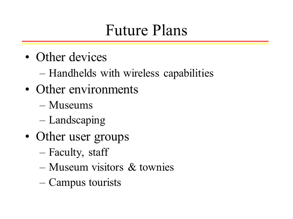Future Plans Other devices –Handhelds with wireless capabilities Other environments –Museums –Landscaping Other user groups –Faculty, staff –Museum visitors & townies –Campus tourists