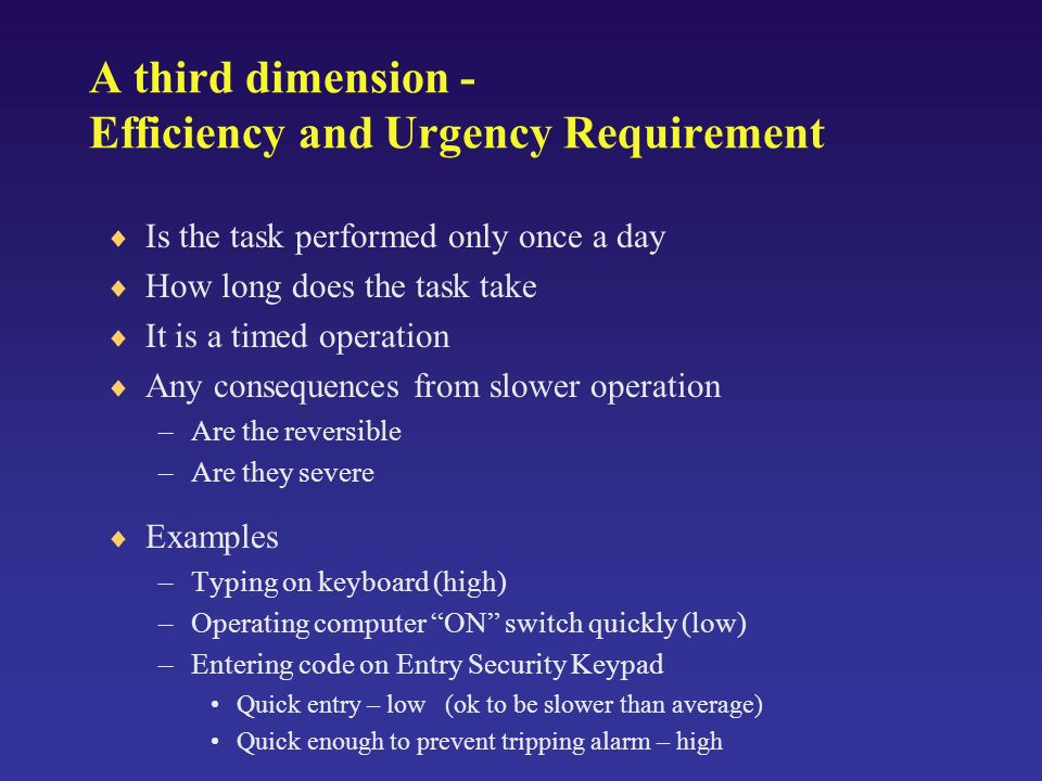 A third dimension - Efficiency and Urgency Requirement Is the task performed only once a day How long does the task take It is a timed operation Any consequences from slower operation –Are the reversible –Are they severe Examples –Typing on keyboard (high) –Operating computer ON switch quickly (low) –Entering code on Entry Security Keypad Quick entry – low (ok to be slower than average) Quick enough to prevent tripping alarm – high