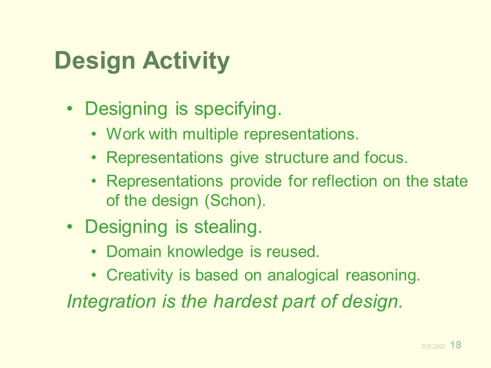 DIS 2002 18 Design Activity Designing is specifying.