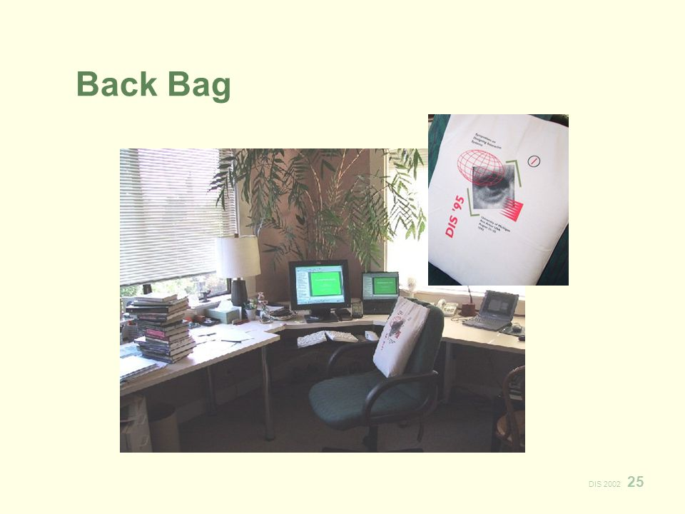 DIS 2002 25 Back Bag