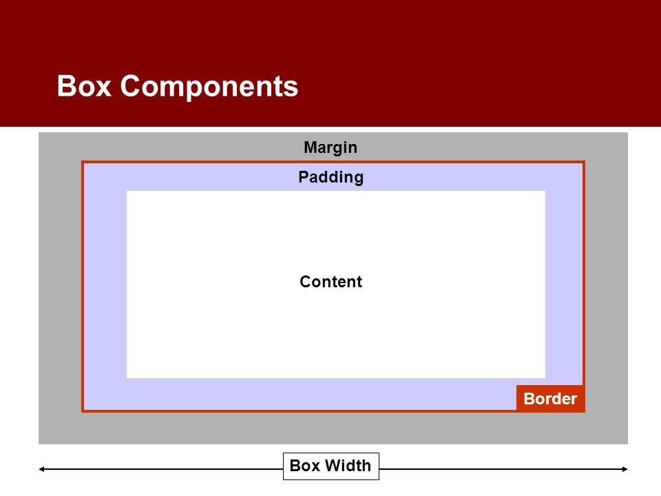 Box Components Content Padding Margin Border Box Width