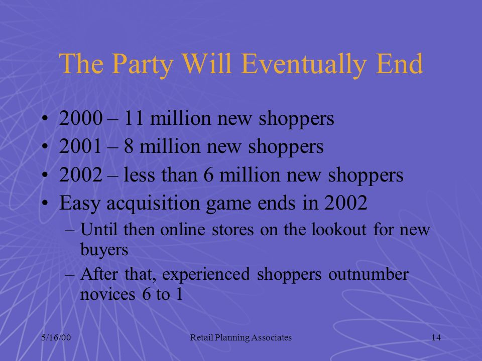5/16/00Retail Planning Associates14 The Party Will Eventually End 2000 – 11 million new shoppers 2001 – 8 million new shoppers 2002 – less than 6 mill