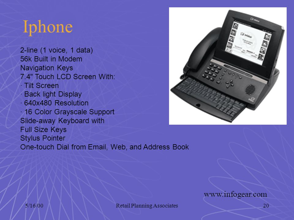 5/16/00Retail Planning Associates20 Iphone 2-line (1 voice, 1 data) 56k Built in Modem Navigation Keys 7.4