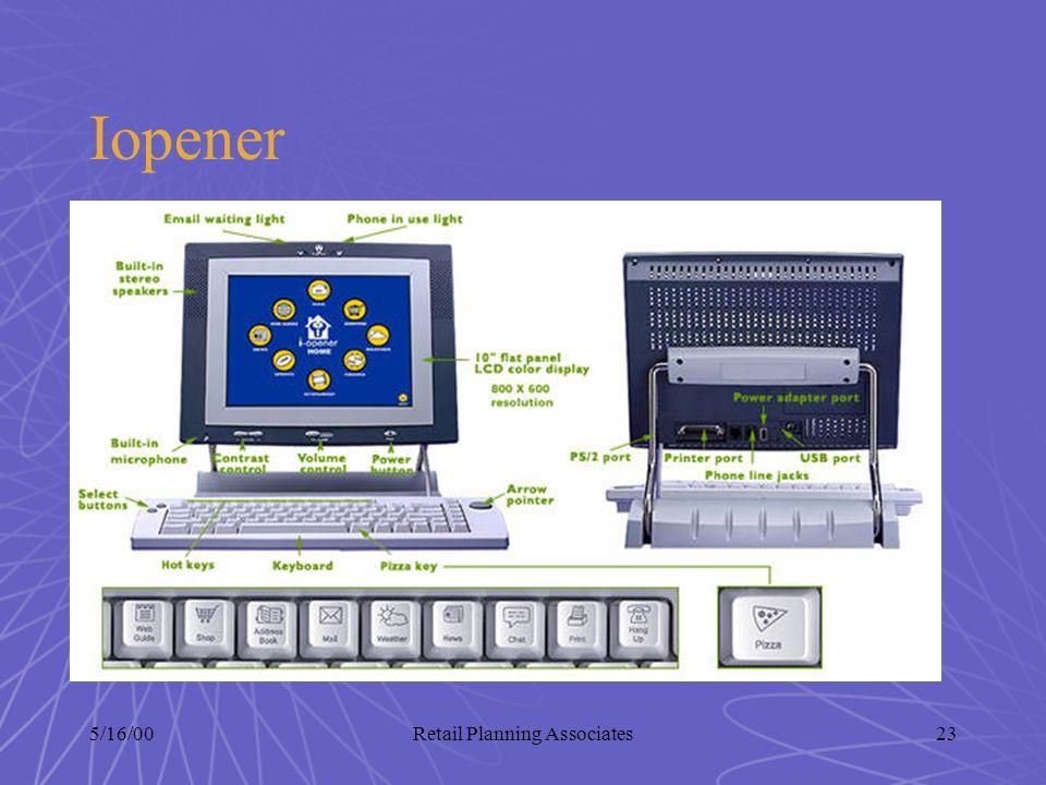 5/16/00Retail Planning Associates23 Iopener