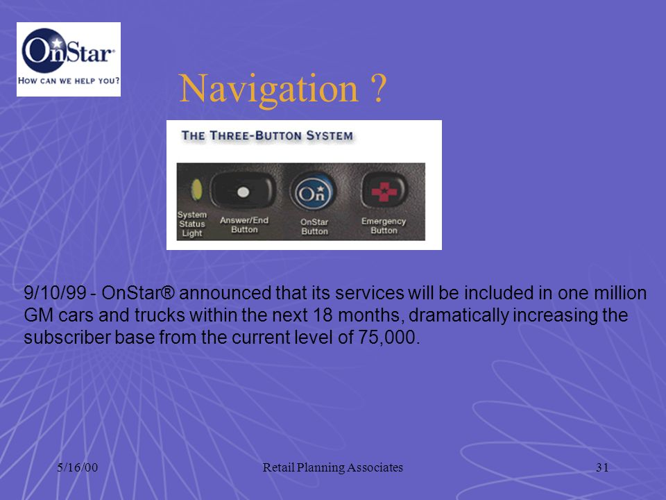 5/16/00Retail Planning Associates31 Navigation ? 9/10/99 - OnStar® announced that its services will be included in one million GM cars and trucks with