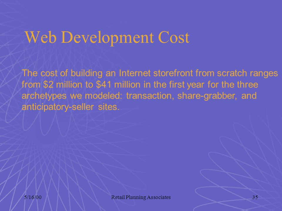 5/16/00Retail Planning Associates35 Web Development Cost The cost of building an Internet storefront from scratch ranges from $2 million to $41 millio