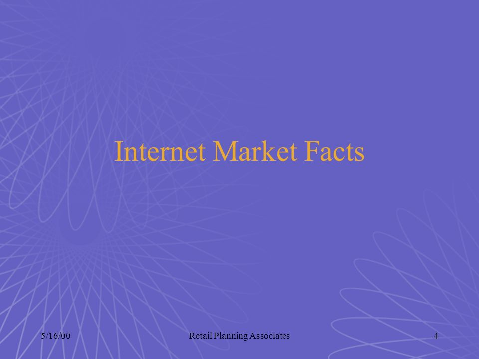 5/16/00Retail Planning Associates4 Internet Market Facts