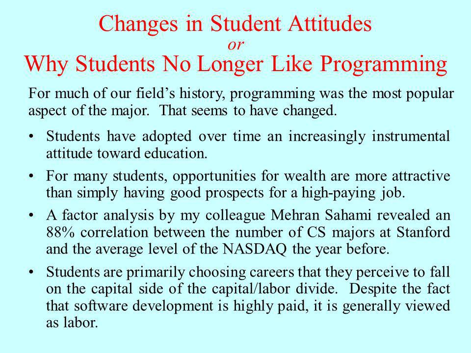 Changes in Student Attitudes or Why Students No Longer Like Programming Students have adopted over time an increasingly instrumental attitude toward e