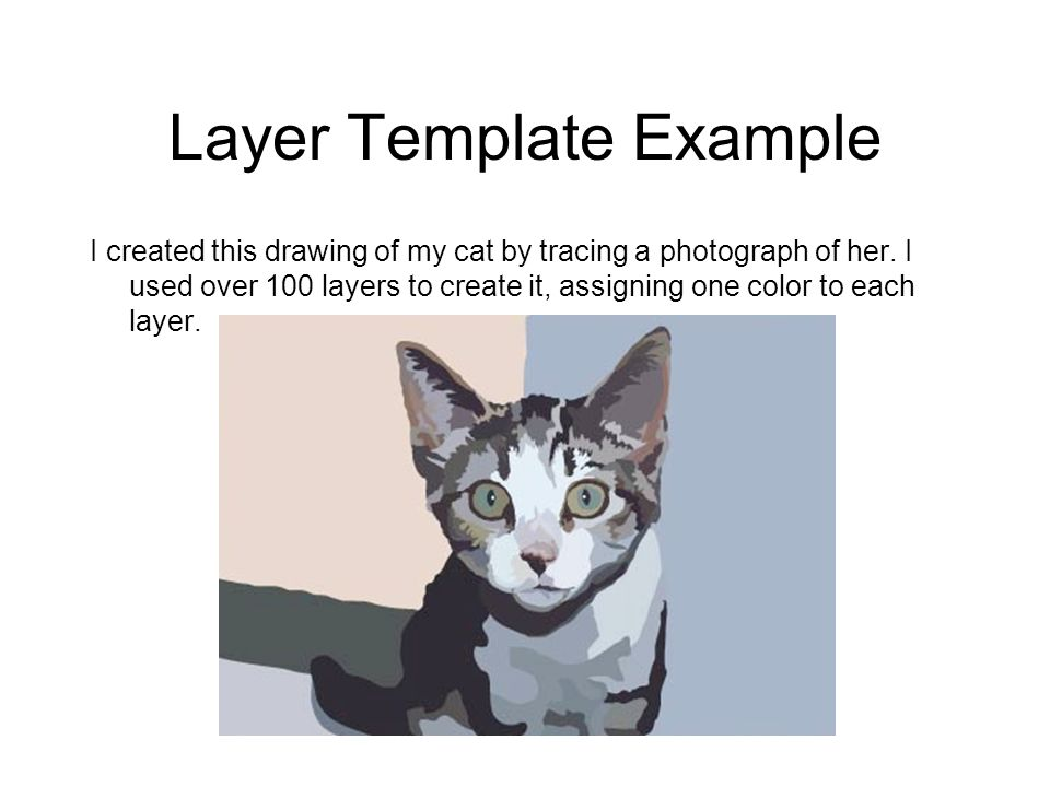 Layer Template Example I created this drawing of my cat by tracing a photograph of her. I used over 100 layers to create it, assigning one color to ea