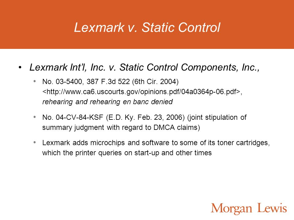 Lexmark v. Static Control Lexmark Intl, Inc. v. Static Control Components, Inc., No. 03-5400, 387 F.3d 522 (6th Cir. 2004), rehearing and rehearing en