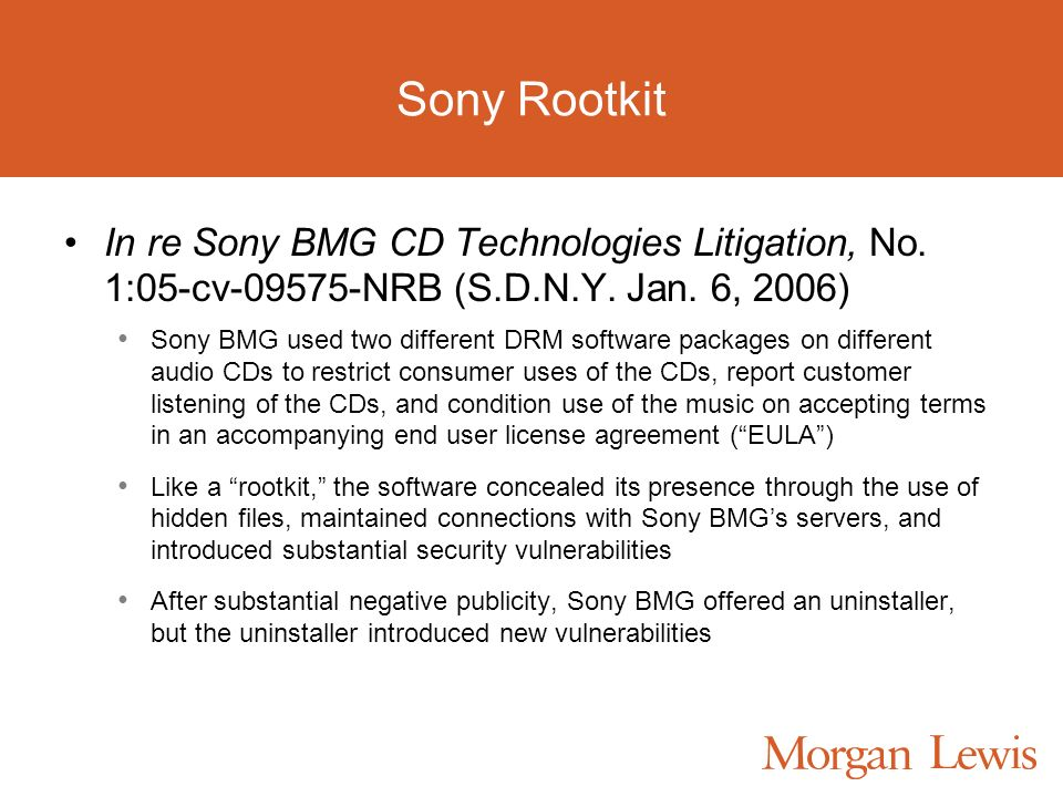Sony Rootkit In re Sony BMG CD Technologies Litigation, No.