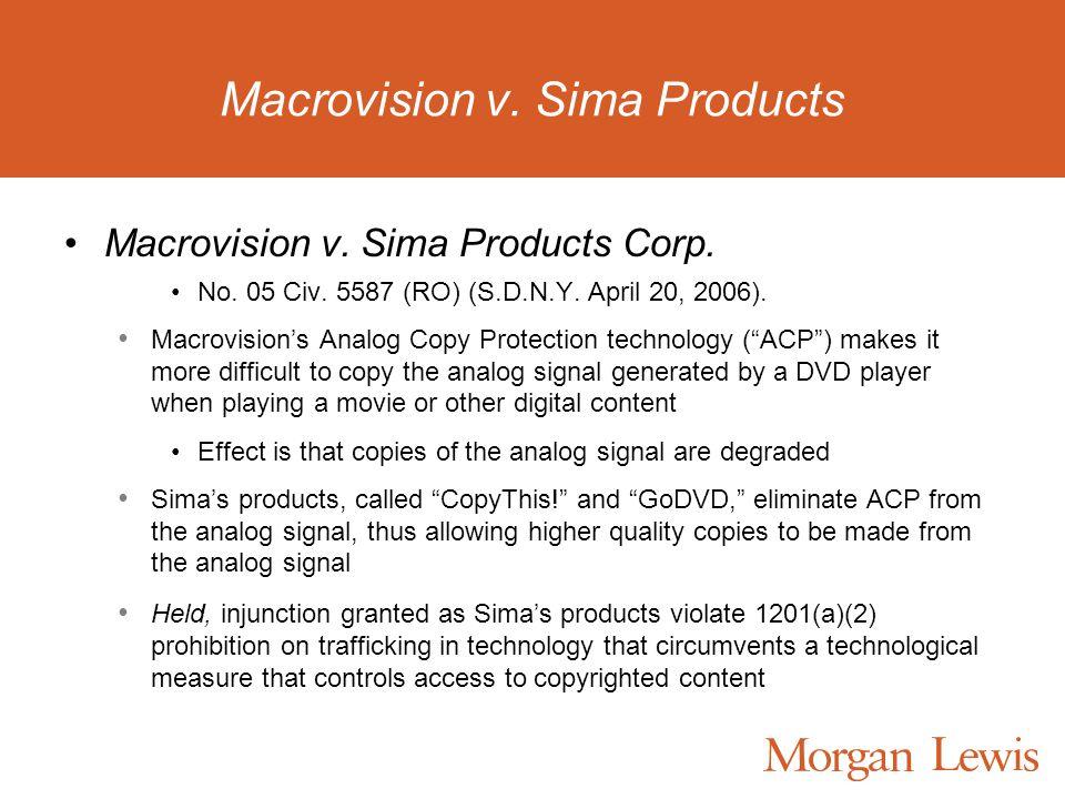 Macrovision v. Sima Products Macrovision v. Sima Products Corp.