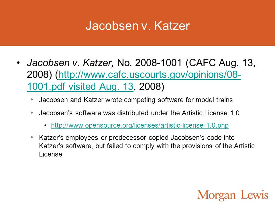 Jacobsen v. Katzer Jacobsen v. Katzer, No. 2008-1001 (CAFC Aug. 13, 2008) (http://www.cafc.uscourts.gov/opinions/08- 1001.pdf visited Aug. 13, 2008)ht