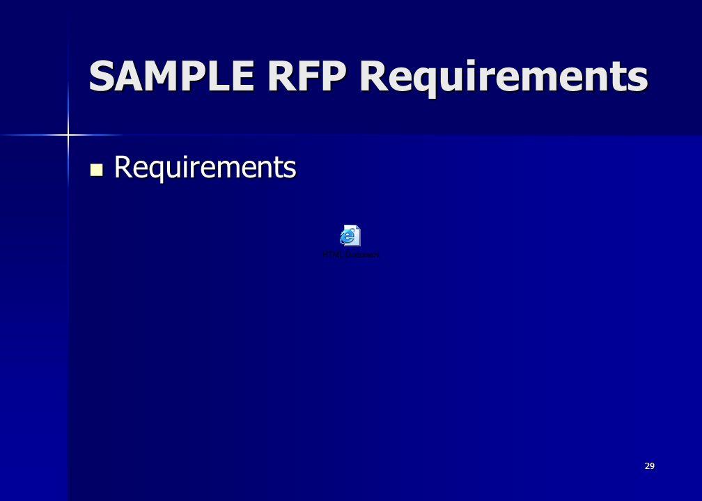 29 SAMPLE RFP Requirements Requirements Requirements