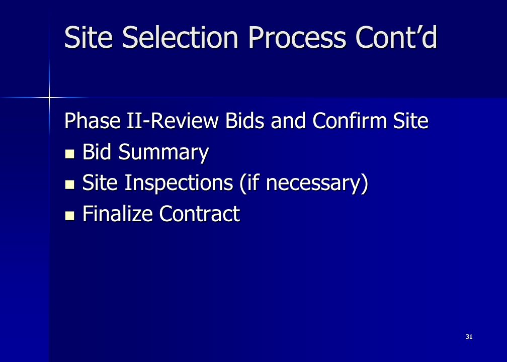 31 Site Selection Process Contd Phase II-Review Bids and Confirm Site Bid Summary Bid Summary Site Inspections (if necessary) Site Inspections (if necessary) Finalize Contract Finalize Contract