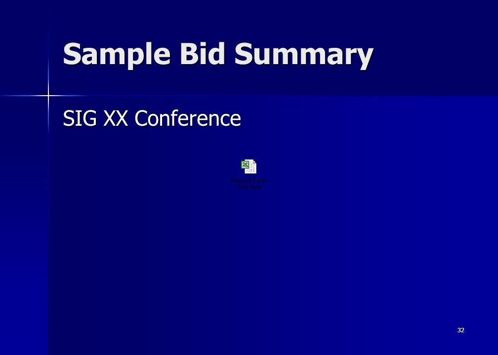 32 Sample Bid Summary SIG XX Conference