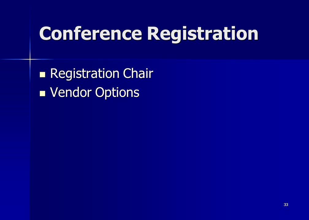 33 Conference Registration Registration Chair Registration Chair Vendor Options Vendor Options