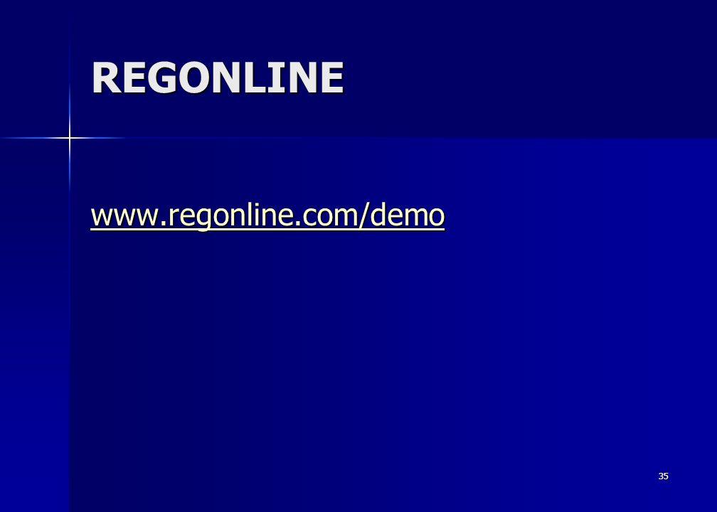 35 REGONLINE www.regonline.com/demo