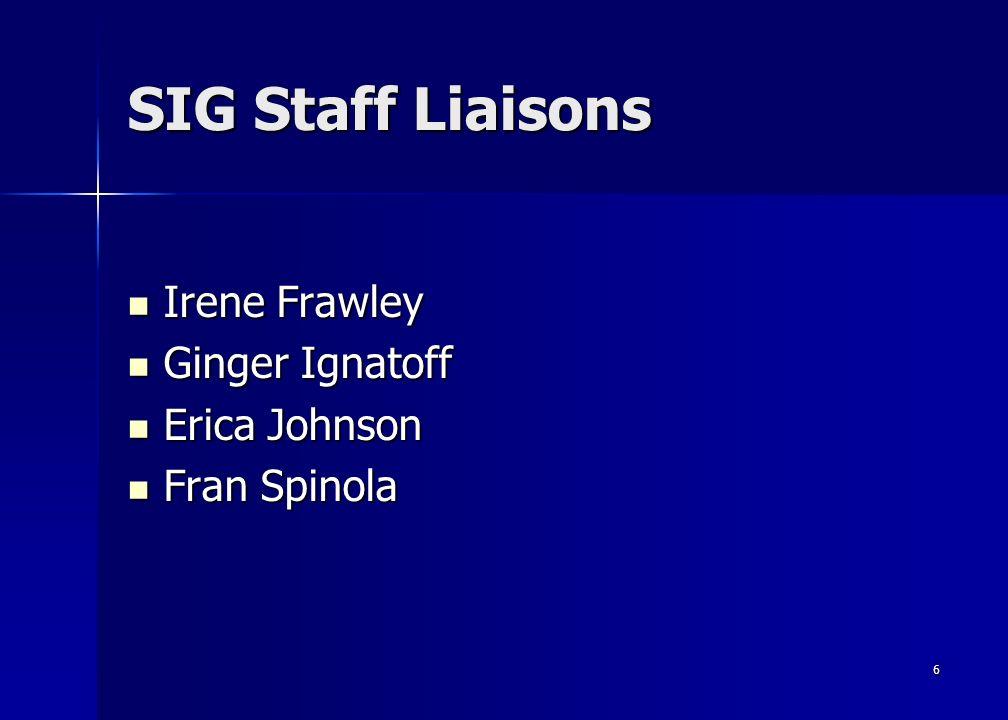 6 SIG Staff Liaisons Irene Frawley Irene Frawley Ginger Ignatoff Ginger Ignatoff Erica Johnson Erica Johnson Fran Spinola Fran Spinola