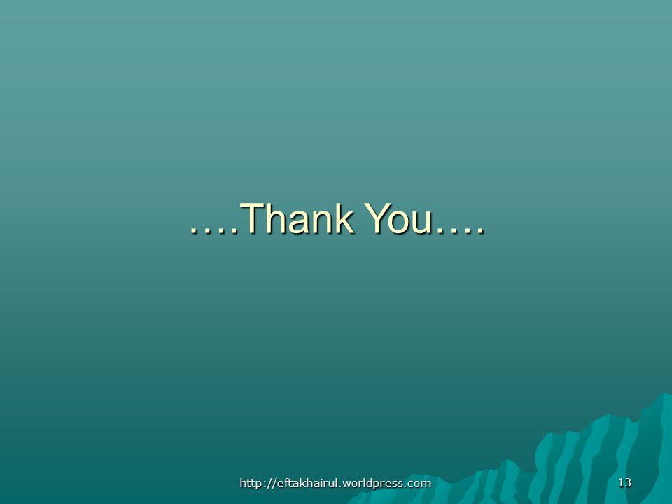 13 ….Thank You…. http://eftakhairul.worldpress.com