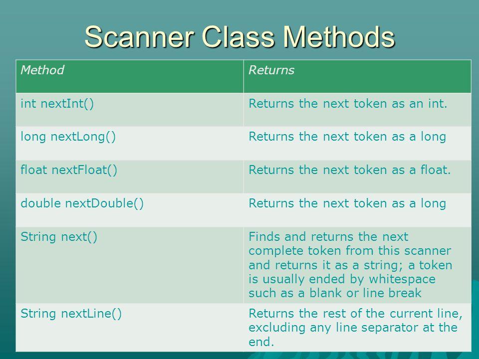 Scanner Class Methods BRAC University Computer Club 3 MethodReturns int nextInt()Returns the next token as an int. long nextLong()Returns the next tok