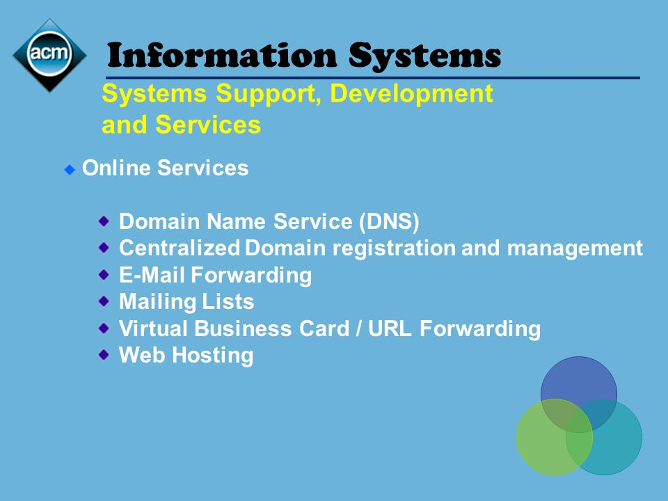 Information Systems Online Services Domain Name Service (DNS) Centralized Domain registration and management E-Mail Forwarding Mailing Lists Virtual B