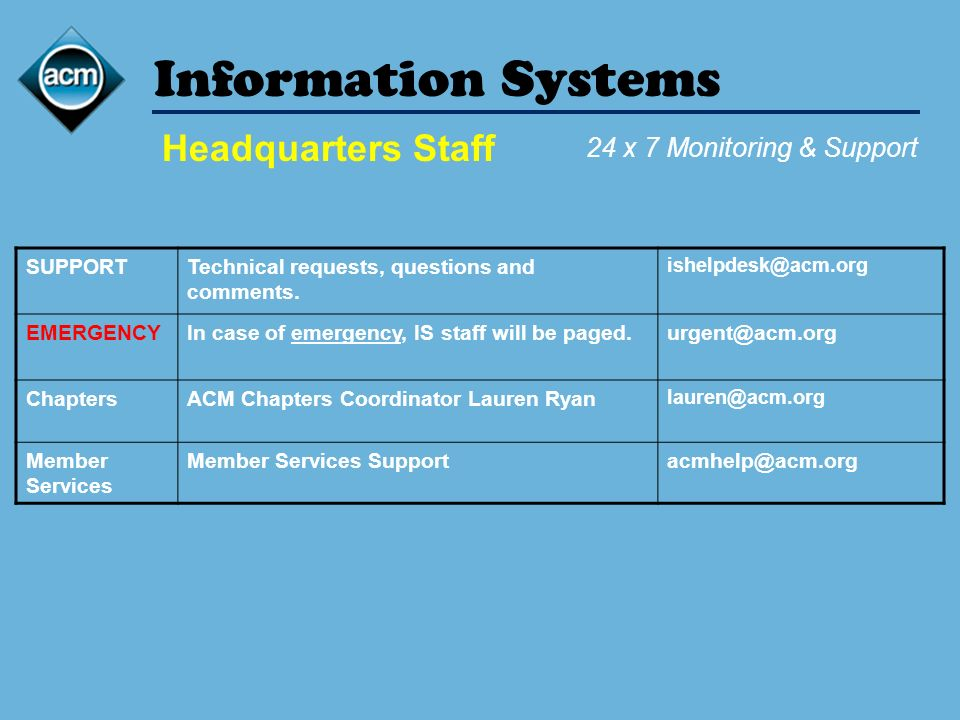 Information Systems SUPPORTTechnical requests, questions and comments.